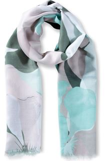 Large Floral Printed Lightweight Scarf - Aqua