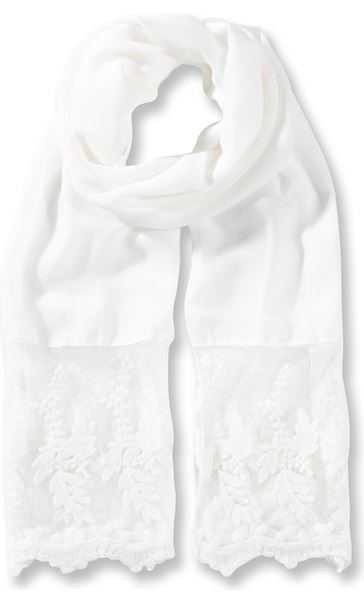 Lace Edge Lightweight Scarf Ivory