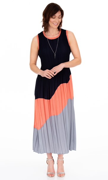 Sleeveless Colour Block Maxi dress Multi
