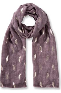 Foil Feather Printed Lightweight Scarf