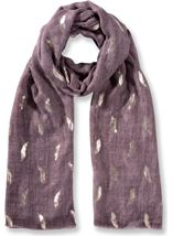 Foil Feather Printed Lightweight Scarf Purple - Gallery Image 1