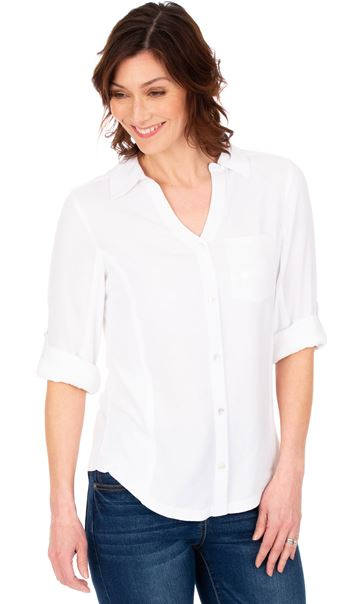 Fitted Sequin Trim Shirt White