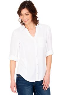 Fitted Sequin Trim Shirt - White