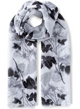 Floral Printed Lightweight Scarf Grey - Gallery Image 1
