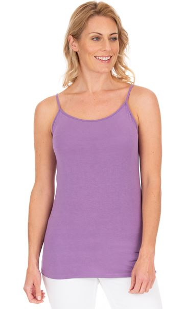Adjustable Strappy Jersey Cami Top Lilac