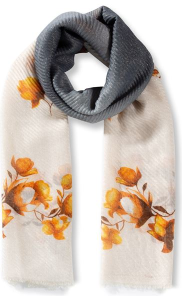 Floral And Ombre Shimmer Lightweight Scarf Grey