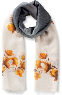 Floral And Ombre Shimmer Lightweight Scarf - Grey