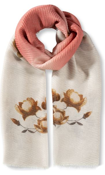 Floral And Ombre Shimmer Lightweight Scarf Peach