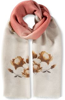 Floral And Ombre Shimmer Lightweight Scarf - Peach