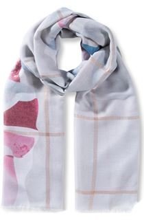 Floral And Check Shimmer Scarf - Grey