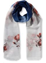 Anna Rose Printed Lightweight Shimmer Scarf Navy - Gallery Image 1