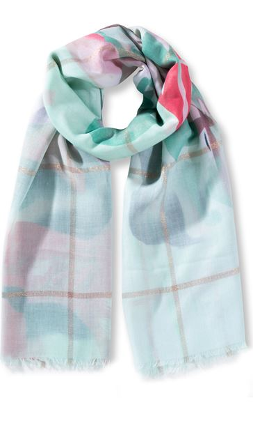 Floral And Check Shimmer Scarf Cyan