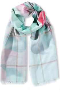 Floral And Check Shimmer Lightweight Scarf - Cyan