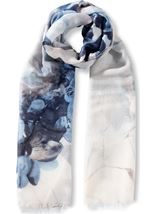 Anna Rose Printed Lightweight Scarf Blue - Gallery Image 1