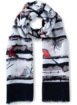 Anna Rose Butterfly Print Lightweight Scarf Blue - Gallery Image 1