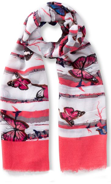 Anna Rose Butterfly Print Lightweight Scarf Coral