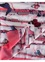 Anna Rose Butterfly Print Lightweight Scarf Coral - Gallery Image 2