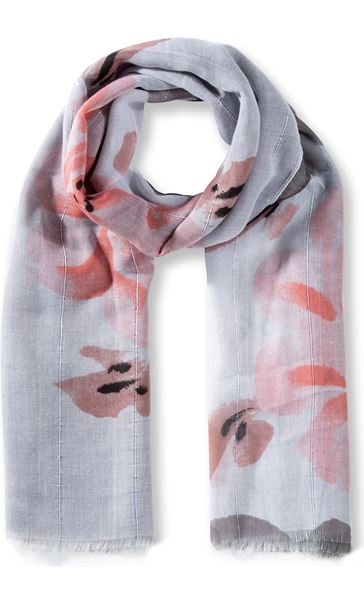 Anna Rose Floral Print And Ombre Lightweight Scarf Grey