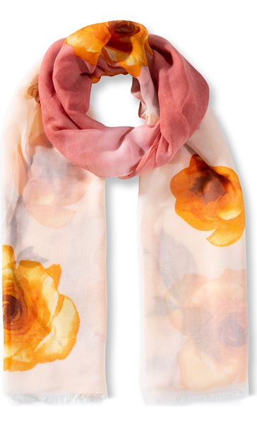Anna Rose Floral Print Lightweight Scarf Coral