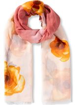 Anna Rose Floral Print Lightweight Scarf Coral - Gallery Image 1