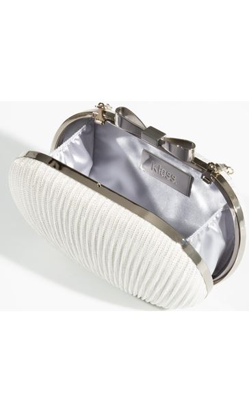 Glitter Shell Clutch Bag Silver