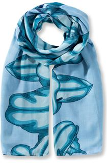 Lilly Printed Panel Lightweight Scarf - Blue