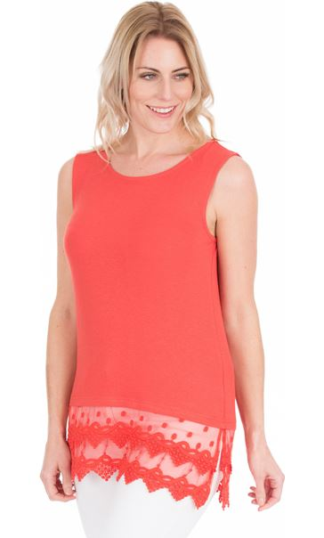Lace Trim Sleeveless Jersey Top Coral