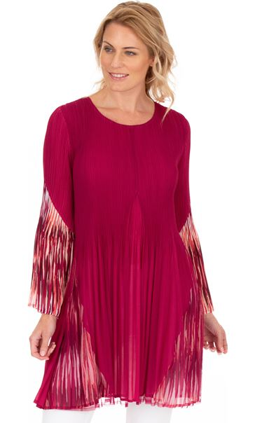 Pleated Layered Flute Sleeve Printed Tunic Cerise