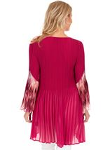 Pleated Layered Flute Sleeve Printed Tunic Cerise - Gallery Image 2