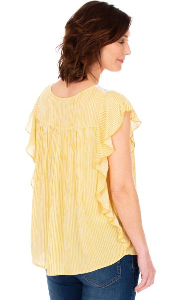 Striped Lace Trim Short Sleeve Top Mustard/White - Gallery Image 2