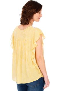 Striped Lace Trim Short Sleeve Top - Mustard/White