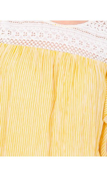 Striped Lace Trim Short Sleeve Top Mustard/White - Gallery Image 3