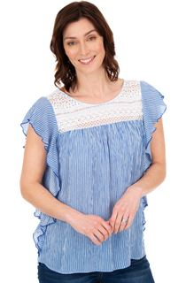 Striped Lace Trim Short Sleeve Top - Blue/White