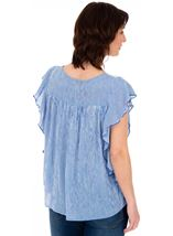 Striped Lace Trim Short Sleeve Top Blue/White - Gallery Image 2