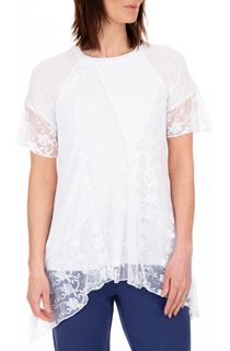 Anna Rose Lace Patchwork Dip Hem Top