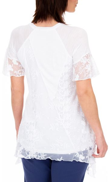 Anna Rose Lace Patchwork Dip Hem Top White - Gallery Image 2