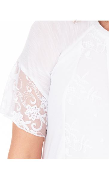 Anna Rose Lace Patchwork Dip Hem Top White - Gallery Image 3