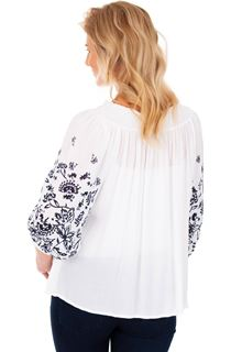 Printed Three Quarter Sleeve Boho Top