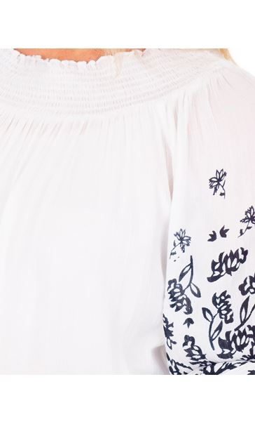 Printed Three Quarter Sleeve Boho Top White - Gallery Image 3