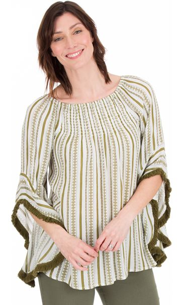 Boho Striped Wide Sleeve Top White/Khaki