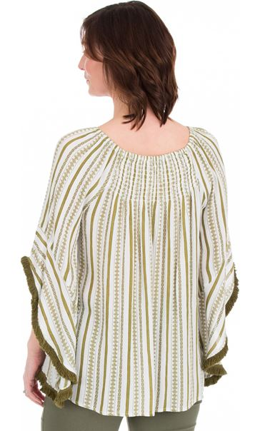 Striped Wide Bell Sleeve Boho Top
