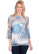Print And Sequin Round Neck Crochet Top Blue/White - Gallery Image 1