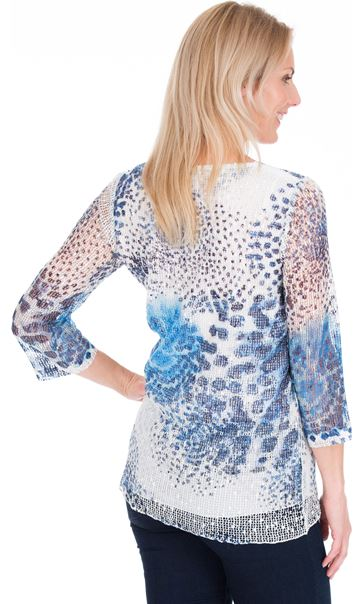 Print And Sequin Round Neck Crochet Top Blue/White - Gallery Image 2
