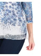 Print And Sequin Round Neck Crochet Top Blue/White - Gallery Image 3