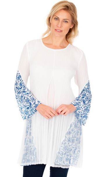 Pleated Flute Sleeve Tunic Optic White