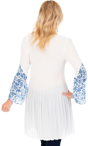 Pleated Flute Sleeve Tunic Optic White - Gallery Image 2