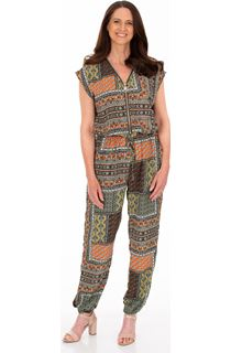 Printed Zip Front Jumpsuit - Orange/Khaki