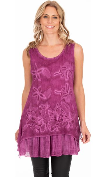 Sleeveless Embroidered Layer Top Hot Pink