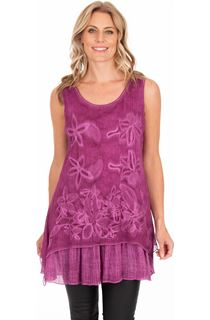 Sleeveless Embroidered Layer Top - Pink