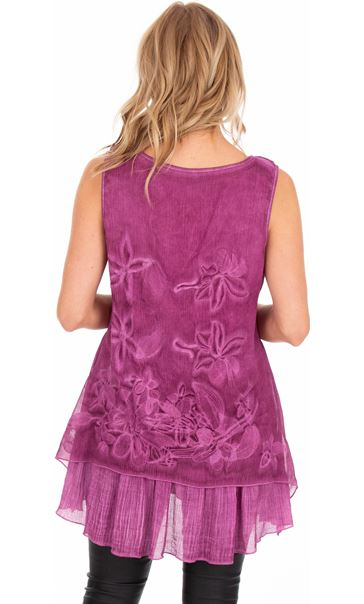 Sleeveless Embroidered Layer Top Pink - Gallery Image 2